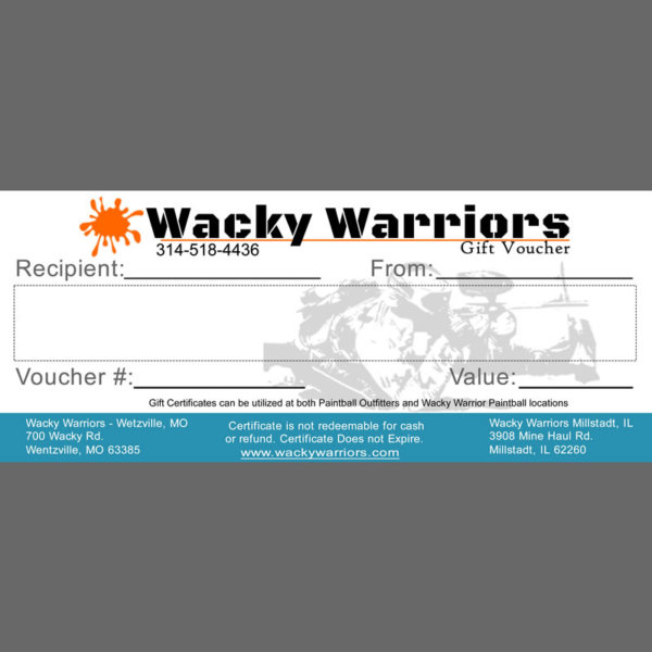 Wacky Warriors Paintball Gift Card